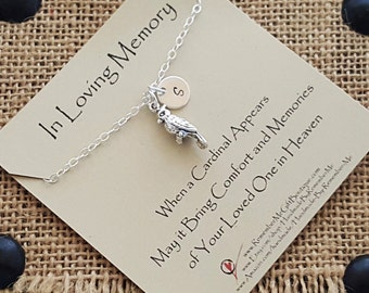 Cardinal Memorial Necklace, Personalized Memorial Jewelry, Sterling Silver, Sympathy Gift, Memorial Gift, Legend of the Cardinal, Unique