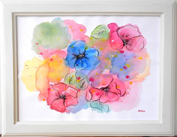 Watercolor painting, abstract painting, flower painting, abstraction flowers, custom art, personalized watercolor-Bouquet