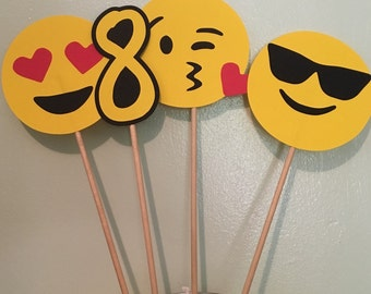 Emoji Centerpiece Photo Props birthday decor customized set of 4