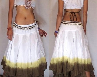 Gorgeous  White / Army Green Gypsy Skirt
