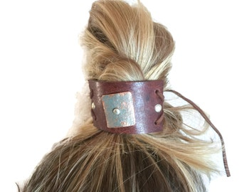 Ponytail Bun Cuff, Hair Jewelry Bun Cuff, Hair Accessories,  Graduation Hair, Hair Accessories for Spa, Leather Bun Cuff, Hair Jewelry, Bun