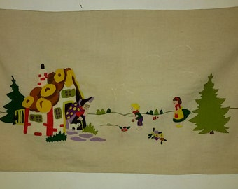 """French Antique / applied, former Patchwork """"Hansel and Gretel"""" Hand Made"""