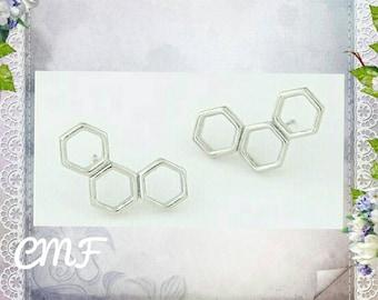Honeycomb Earrings Handmade 925 Sterling Silver Earrings Stud Earrings