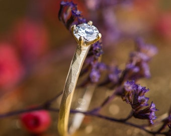 Zehava Solitaire Ring in 14K Yellow Gold with Natural White Diamond, 18K Yellow Gold Engagement Ring, Diamond Engagement Ring, Handmade