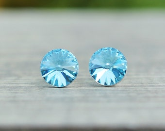 Aquamarine Swarovski Crystal Stud Earrings, March Birthstone Earrings, Bridesmaids Gift, Something Blue, 8mm Rivoli Earrings