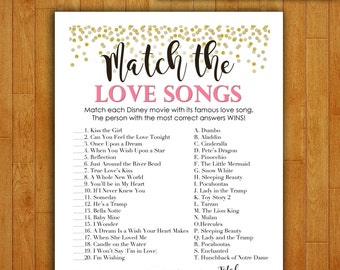 Bridal Shower Game Download - Match the Love Songs - Coral and Gold - Instant Printable Digital Download - diy Disney Songs  Printables