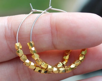 Gold metal nugget beads on stainless steel earring hoops or on 24k yellow gold vermeil hoop ear wires~ earrings
