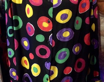 1980's loose abstract pattern blouse, huge shoulder pads. Size S/M.