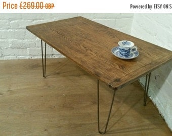 Summer Sale HairPin Legs Vintage Reclaimed 1900 Solid Oak Plank Wood Industrial Coffee Table - Village Orchard Furniture