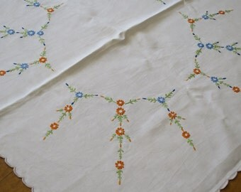 Vintage Linen Table Cloth-  Hand Embroidered Flower Sprays