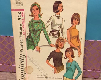 Simplicity 6138 vintage 60s blouses sewing pattern size 14