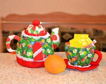 Textile Kettle and a Cup Interior items Wonderful Gift Handmade  Jewelry Boxes Kitchen Interior