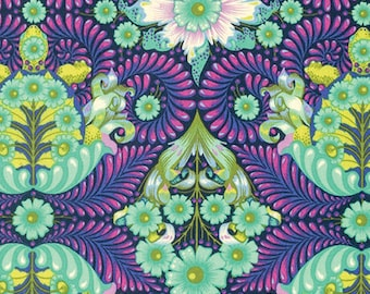 Tula Pink Slow & Steady - The Tortoise Fabric - Blue Raspberry - Sold by the 1/2 Yard