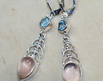 Rose Quartz with Blue Topaz  & 925 Sterling Silver Earrings