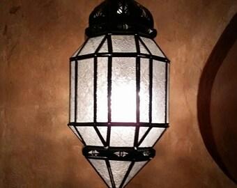 Moroccan White Glass Lantern. Rustic Finish