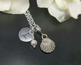 Clam Shell Initial Necklace, Many Colors Available, Half Shell Nautical Sea Jewelry, Swarovski Pearl Jewelry, Hand Stamped Initial Letter