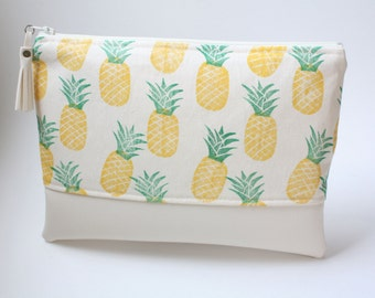 Pineapple Block-Printed Pleather Clutch