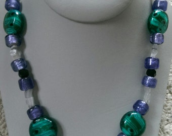 Green Swirl and Purple Lampwork Necklace
