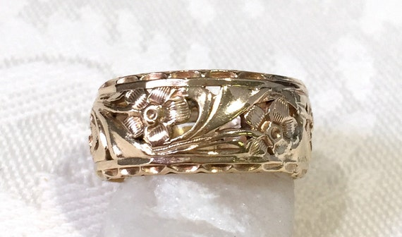 Estate Wedding Band Wide 9mm 14K Yellow Gold Band Ring