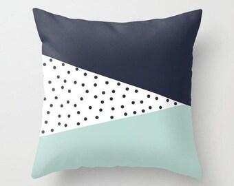 16x16 18x18 20x20 Decorative Pillow Cover: Scandinavian, Mint, Navy, Blue, Modern, Minimalist, Memphis Style, Scandinavian, Cushion