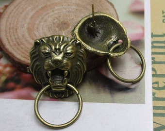 5Pcs 19*21mm Lion Charms Antique Bronze Tone,Can be used as earrings - p1321