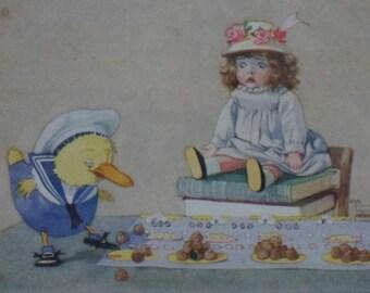 "Vintage children's nursery print - ""Again the bell rang"". Original Honor C Appleton print from 1918 book ""Josephine is Busy"""
