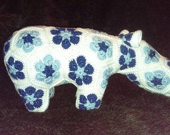 African flower hippo.   Crochet hippopotamus heidi bear african flower happypotamus soft toy