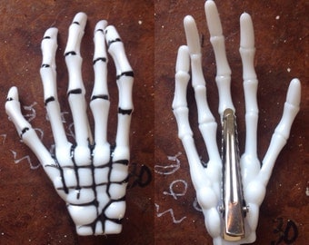 Skeleton Hands Hair Clips (pairs)