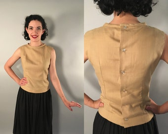 Vintage 1950s Blouse   50s 60s Biscuit Colored Linen Sleeveless Button Back Top   Small