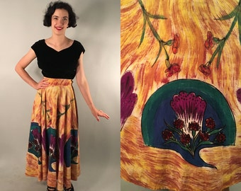 Vintage 1950s Skirt | Hand Painted Cotton Mexican Circle Skirt | Medium