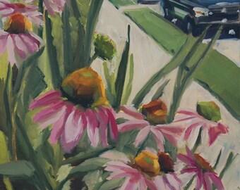 Cone Flower Street- Original Oil Painting on 7x5 Ampersand Gessobord