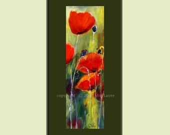 Poppy Painting, Painting flowers, Landscape Painting, Vertical Painting, Narrow Wall Art Wall, Family Room Art, Red Flowers, Green Painting