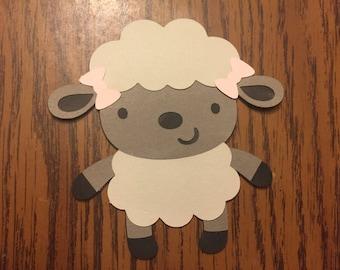 6 Cricut Die Cut Lamb Embellishments