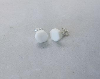 Mini White Hexagon Stud Earrings
