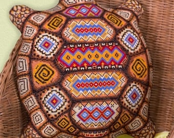 Kit point de croix coussin tortue à broder// Counted Cross Stitch