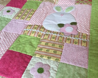 Beautiful Baby Quilt with Bunnies and Flowers