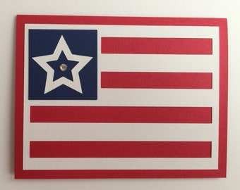 """Handmade """"Happy 4th of July"""" Card, A2, Red/White/Blue, America, Flag, 4th of July, Independence day"""