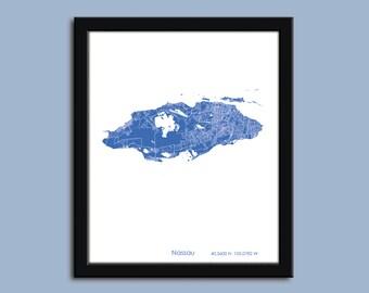 Nassau map, Nassau city map art, Nassau Bahamas wall art poster, Nassau decorative map