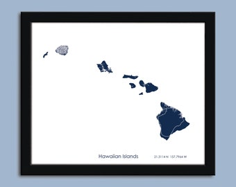 Hawaiian Islands map, Hawaiian Islands map art, Hawaiian Islands wall art poster, Hawaiian Islands decorative map