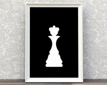 Chess Queen | Chess Piece Prints | Minimalist Print | White Chess Queen | White And Black | Modern Style Decors | Classic Wall Art | Queens