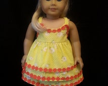 Homemade 18 Inch Soft Body Doll Clothes: 2 Piece Summer Outfit Including Skirt And Sleeveless Top With Spaghetti Straps