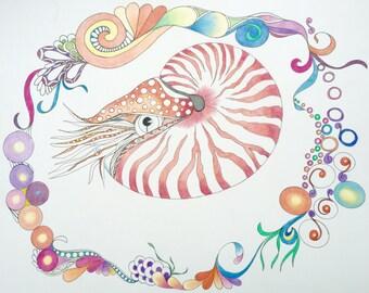 Zentangle nautilus,nautilus art,marine art,colored zentangle,zentangle art,wall art,wall decor,