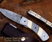 "DKC-531 JAGUAR Damascus Steel 3.5"" Blade 4.5' Folded 8"" Open 10.8 oz Pocket Folding Knife DKC Knives tm Hand Made Incredible Look and Feel"