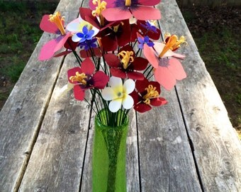 Tropical Flowers - Hibiscus, Plumeria, and Wildflower - Paper Flower Bouquet - Recycled Flowers