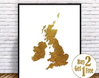 SALE: United Kingdom Print, Great Britain Print, Map Print, uk print, uk map print, Gold Home Decor, Gold Decorations, Faux Gold Foil