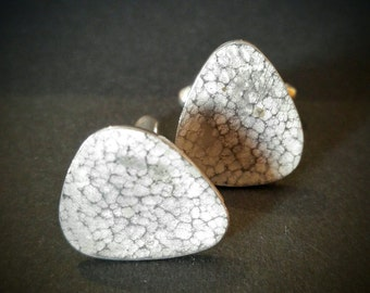 Sterling Silver Plectrum Cufflinks, Plectrum cufflinks, Silver cufflinks, Hammered cufflinks