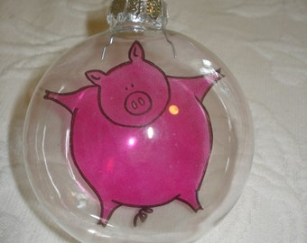 Pig, Ornament, Glass, Handmade, Christmas Pig