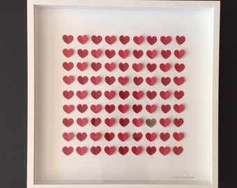 3D Wedding guest book alternative LARGE 100 OR 121 guest/ Personalized 3D Wedding Hearts/ Anniversary gift/Shadow box FRAMED