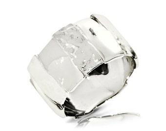 Rustik Wedding Band, 14K White Gold Ring Size 6.5 White Gold Band Ring, Wedding Jewelry Gift Anniversary Gift