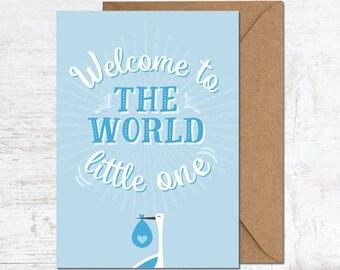 Baby Boy Card, New Baby Boy Card, Blue Baby Card, Welcome to the World Card, Cute Baby Boy Card, Modern Baby Boy Card, Welcome Baby Boy Card